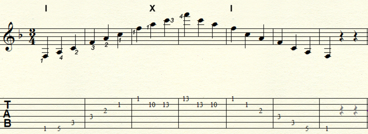 Major arpeggio - Three octave movable pattern: Example key F major