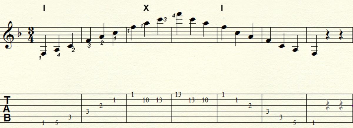 Major arpeggio - Three octave movable pattern: Example key F major