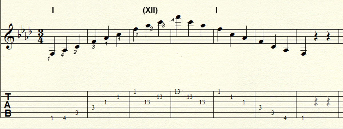 Minor arpeggio - Three octave movable pattern: Example key F minor
