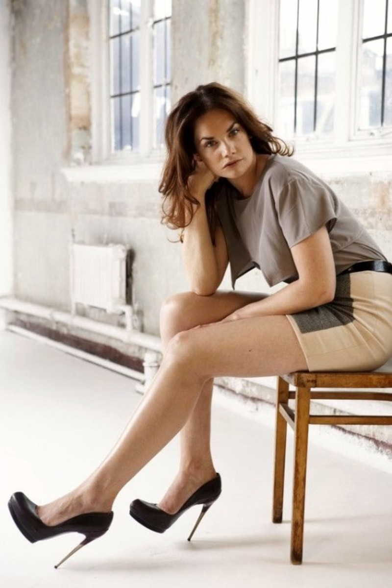 "Ruth Wilson  long legs in a short skirt and 5""  metal tip stiletto heels"