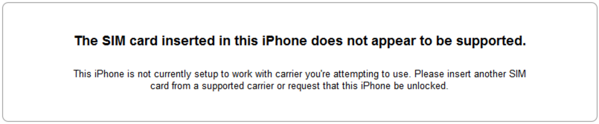 Caution that an iPhone is locked to a specific carrier network
