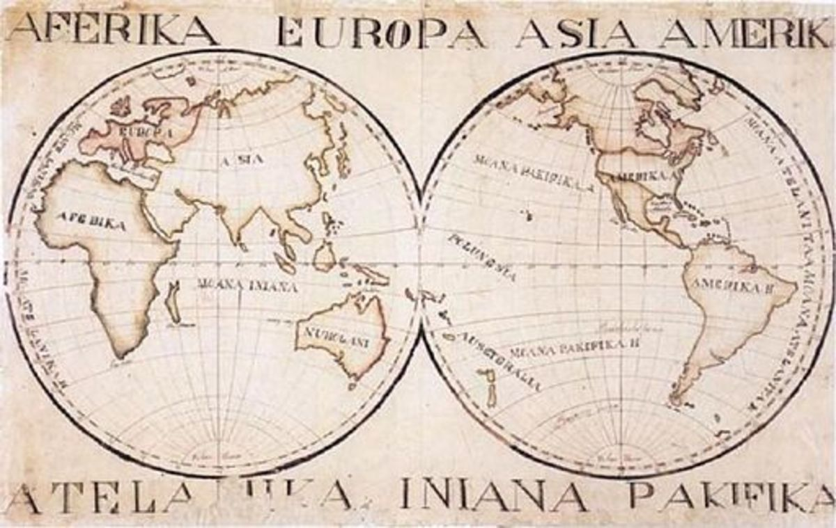 Map of the world 1832 created by David Malo