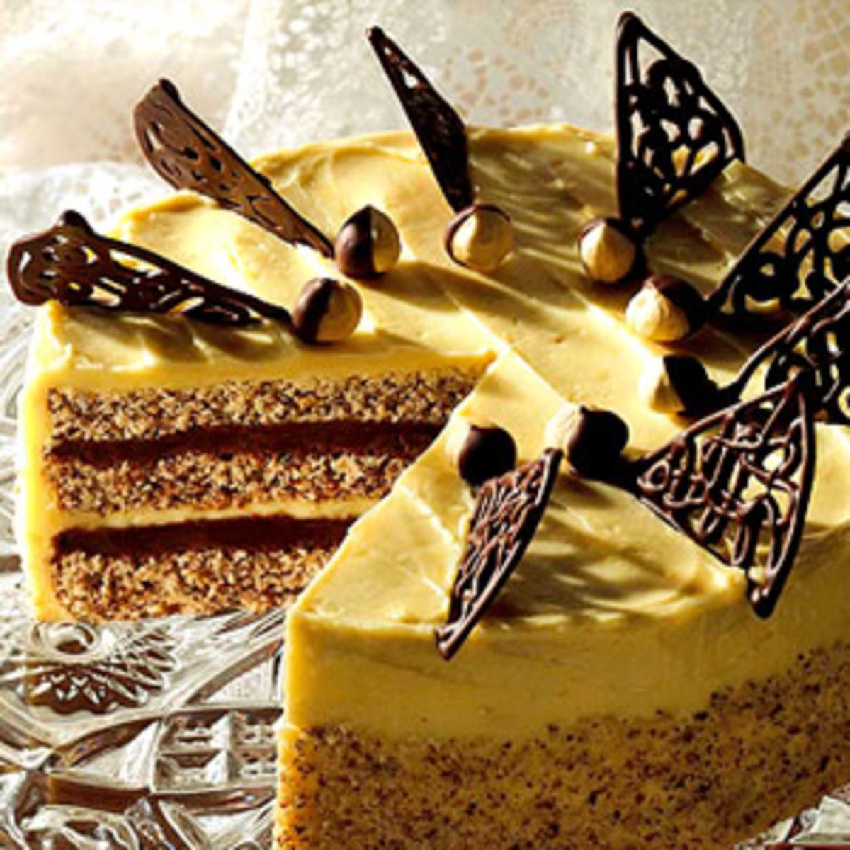 Professionally prepared Marjolaine Cake.