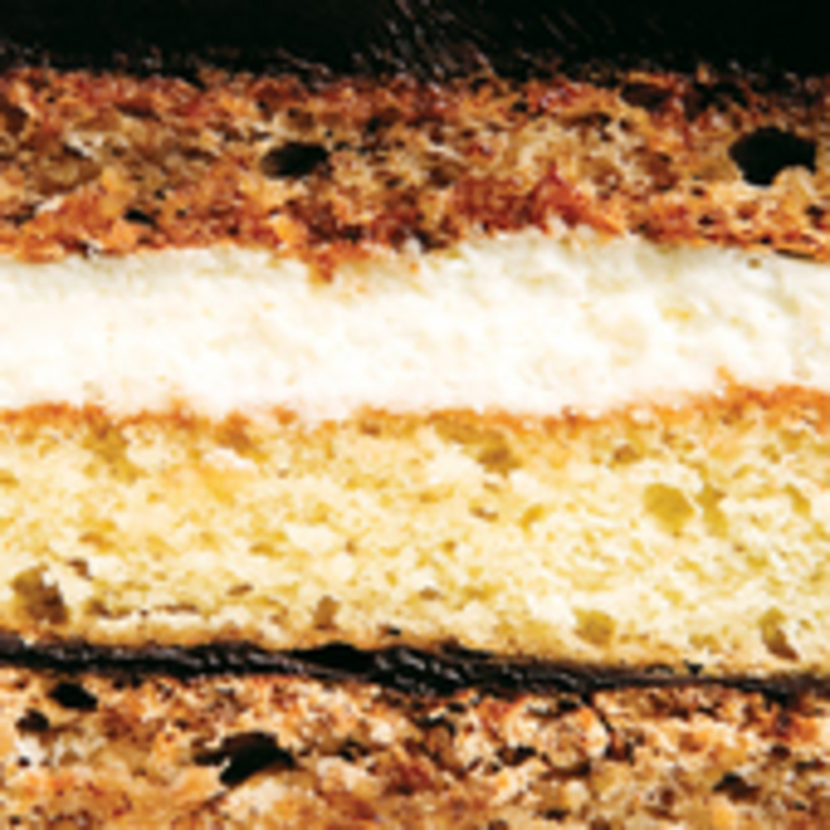 Cross Section of Marjolaine Cake layers.
