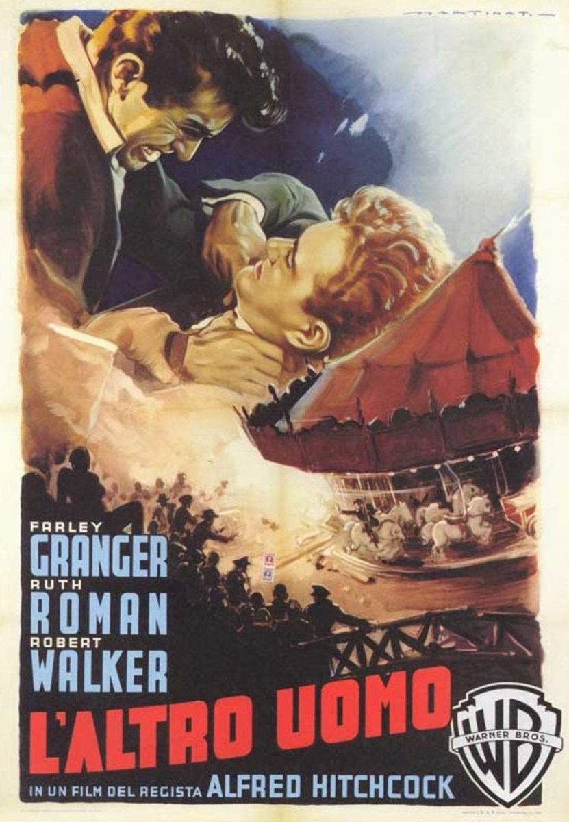 Strangers on a Train (1951) Italian poster art by Luigi Martinati