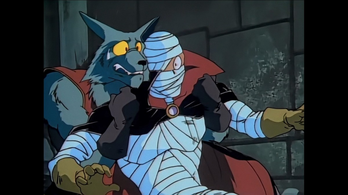 Wolf-man Dilgear stops his mage friend Zolf from going absolutely berserk.