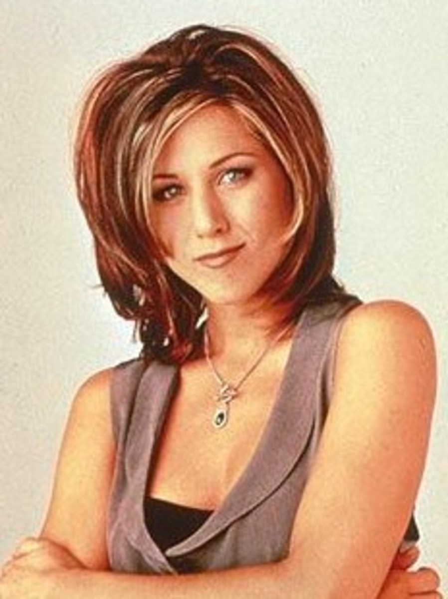 Jennifer Aniston with Blonde Highlights in Red Hair