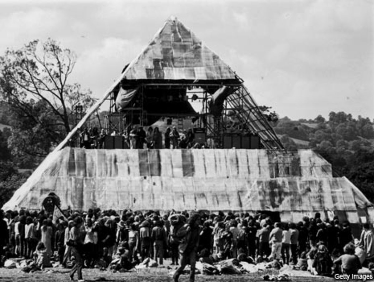The pyramid stage at Glastonbury 1971: 10th the size of the pyramid at Giza