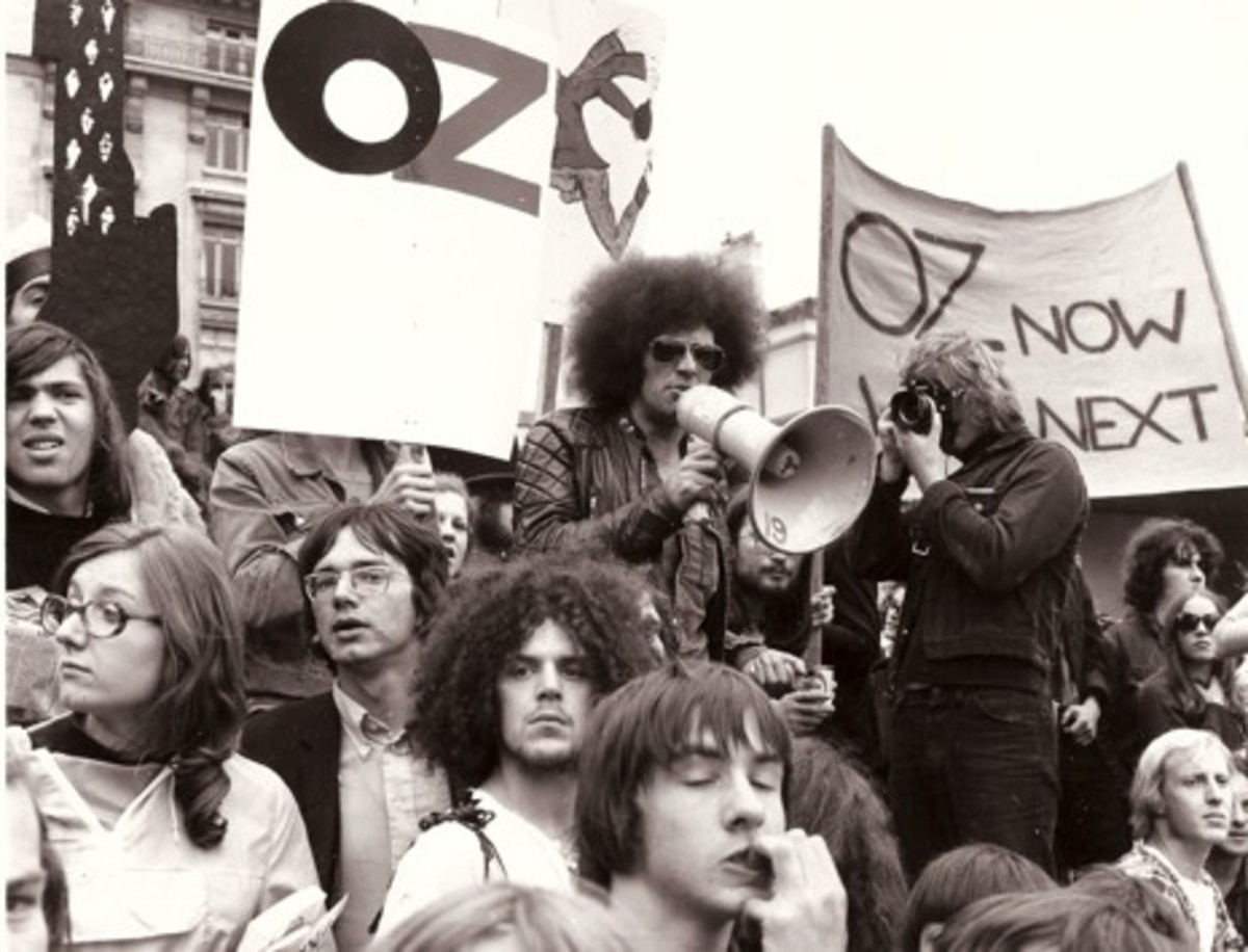 Mick Farren at a demonstration in support of the Oz defendants.