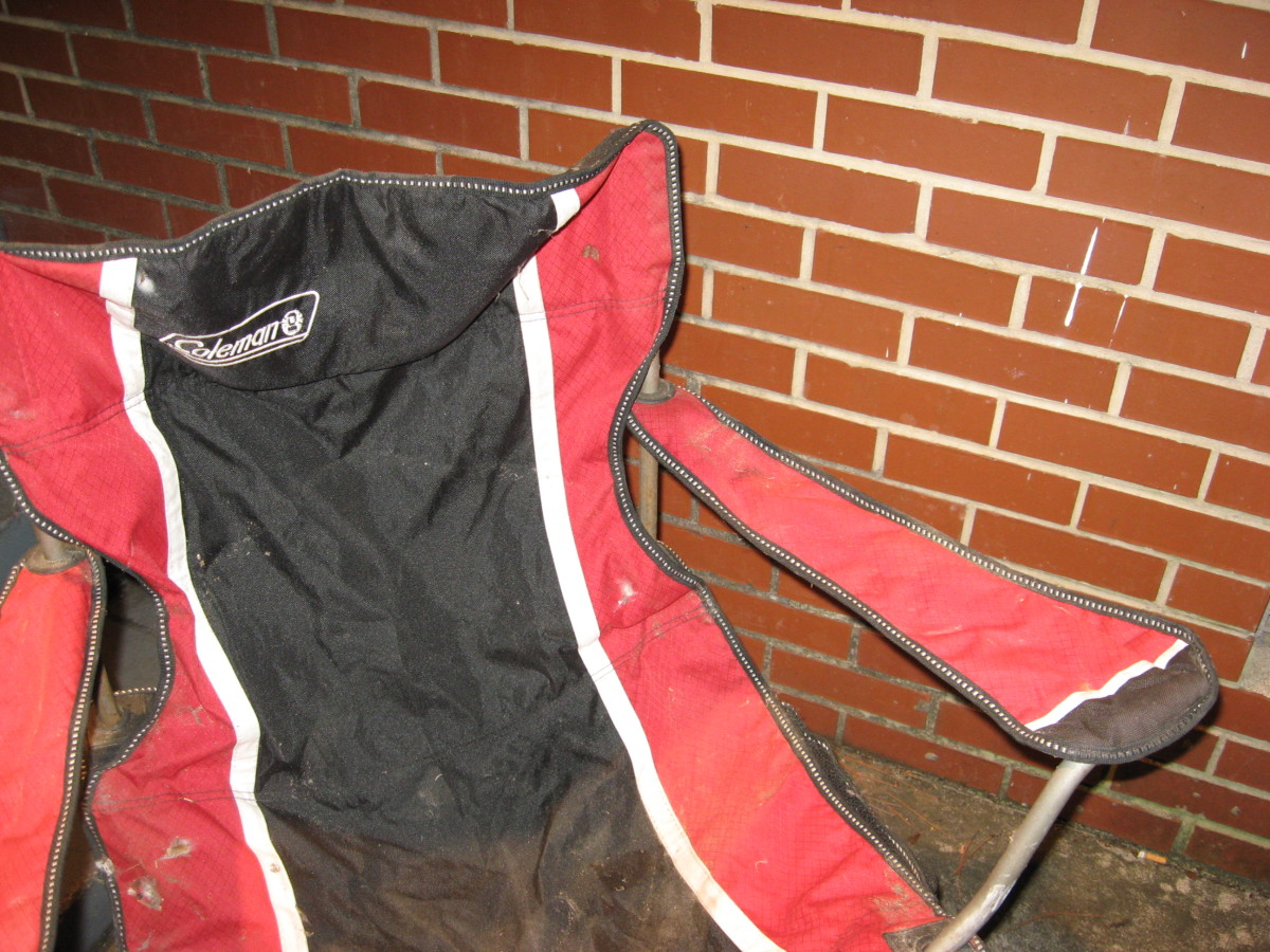 This old camp chair has seen a lot of use.