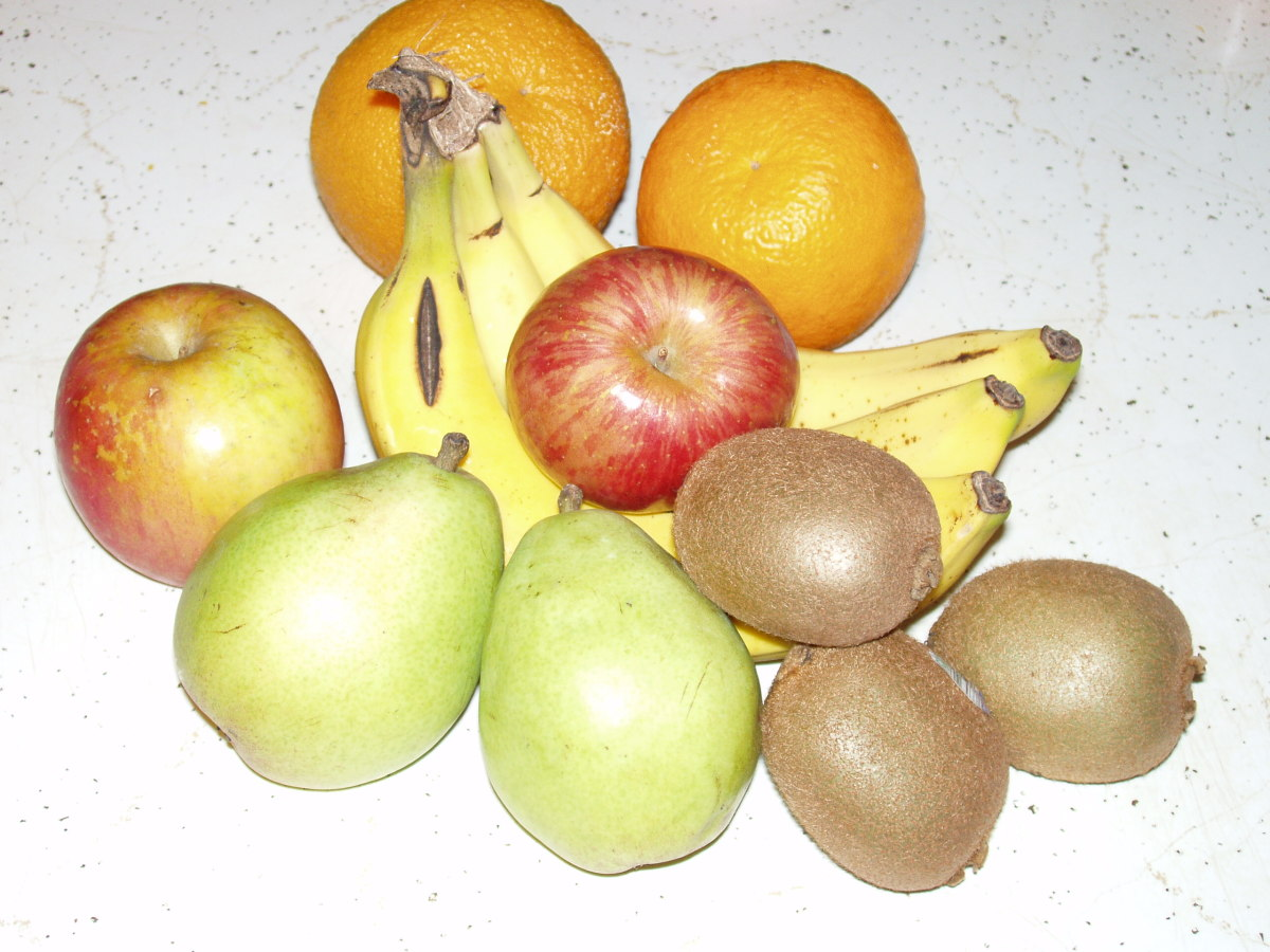 Kiwi have the most vitamin C out of the fruits shown here.