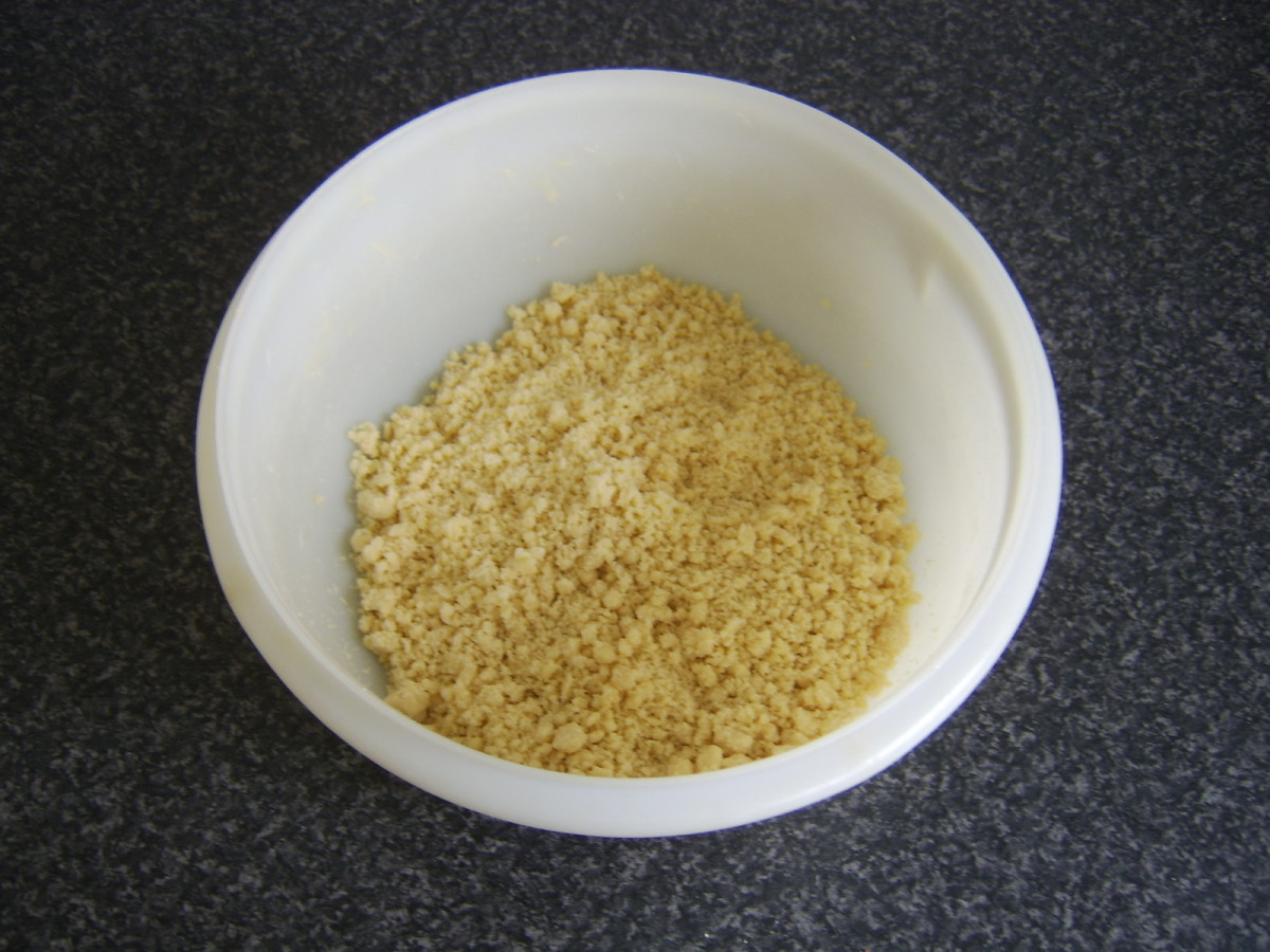 Butter and flour are rubbed to breadcrumb consistency