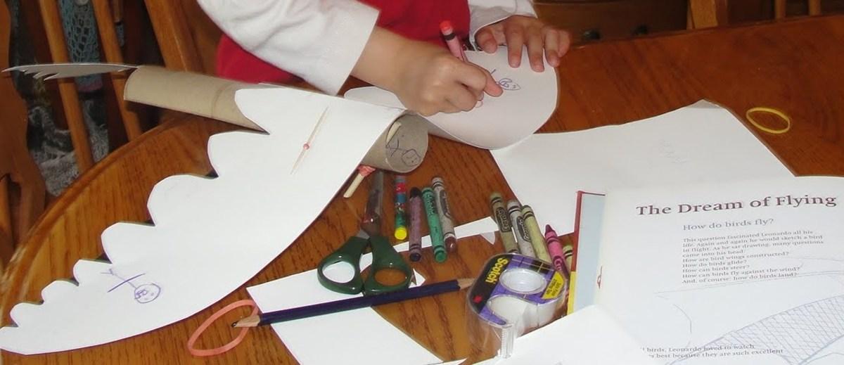 Making and testing out models of Leonardo da Vinci's ornithopter from Lesson 3: Leonardo da Vinci: The Inventor