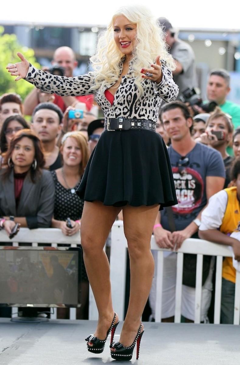 "Christina Aguilera is a fan of Christian Louboutin ""Lady Clou"" studded high heels."