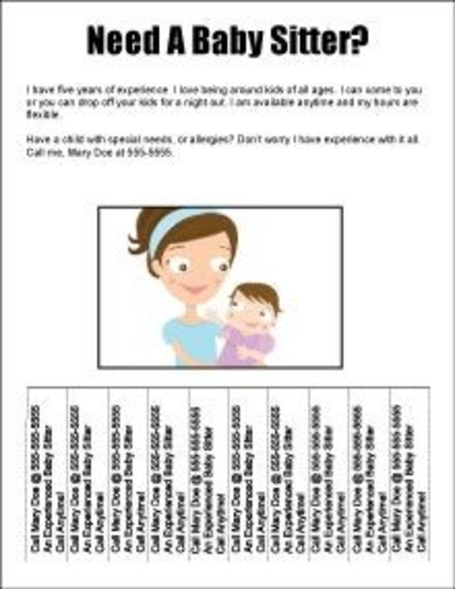 5 easy babysitting flyers hubpages for Babysitting poster template