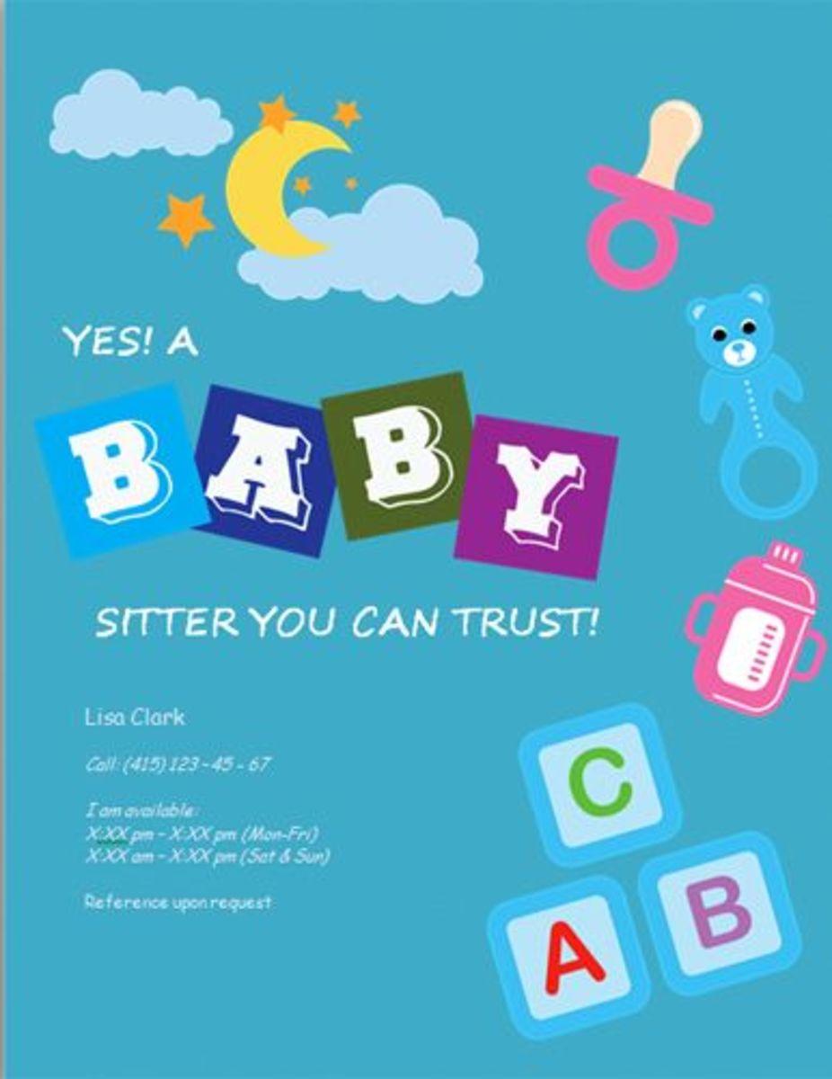 abc babysitting flyer from hloom