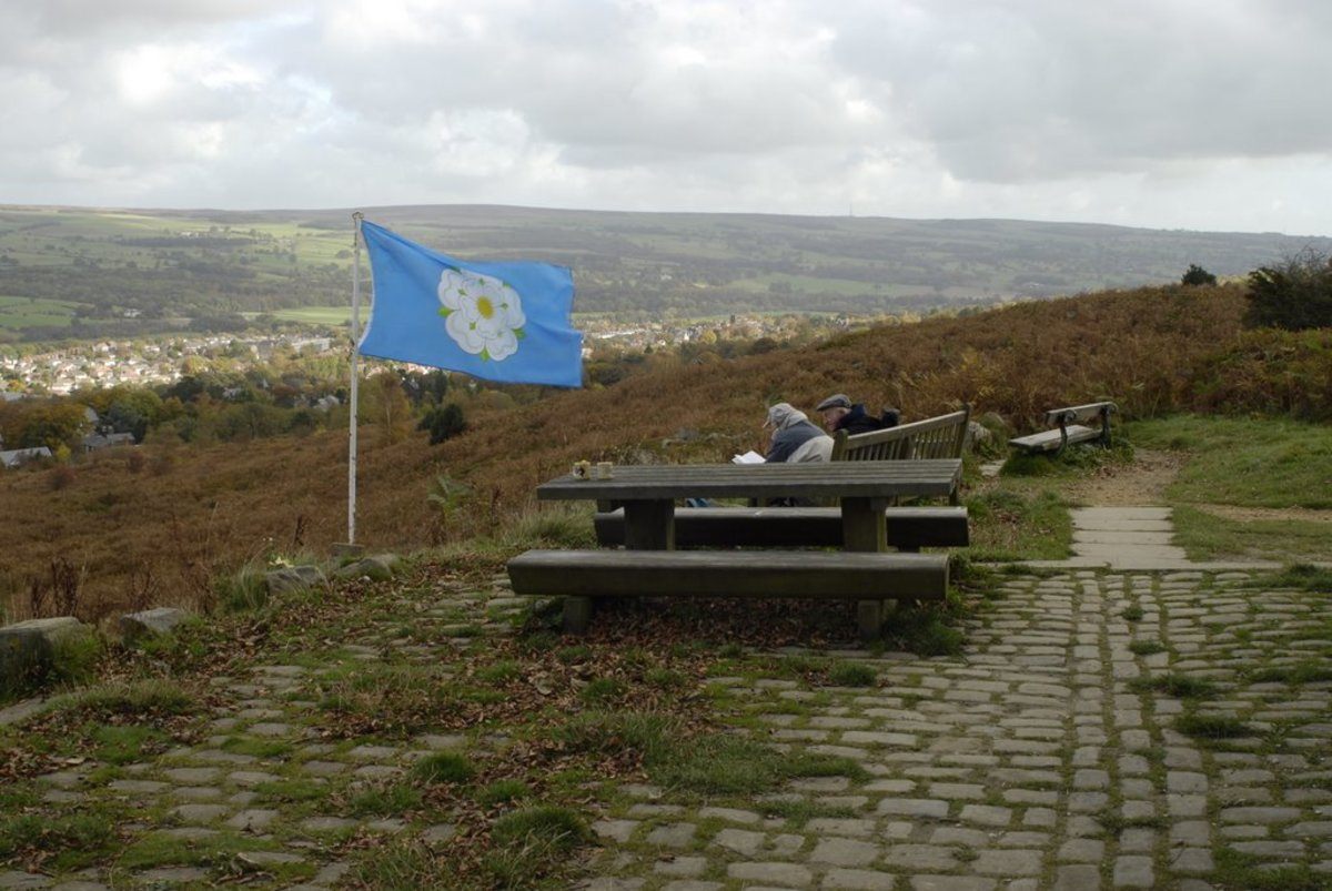 The Yorkshire Flag with a white rose flutters in the breeze
