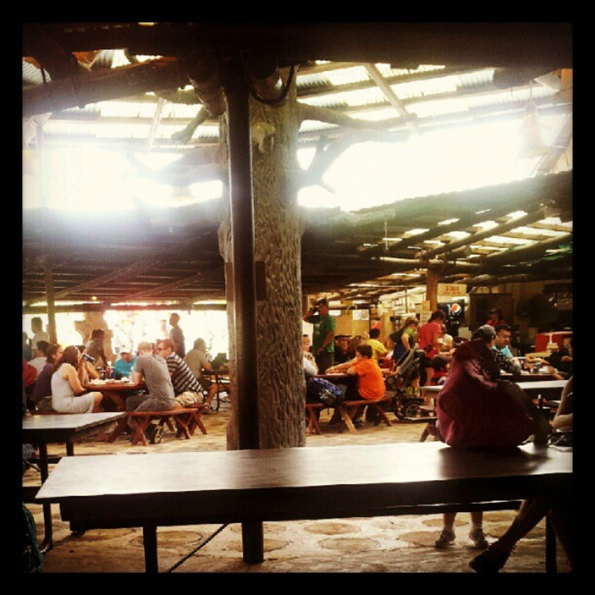 Eating indoors at the Oasis at Knoebels. The only light during the day is natural sunlight coming from the sky lights.