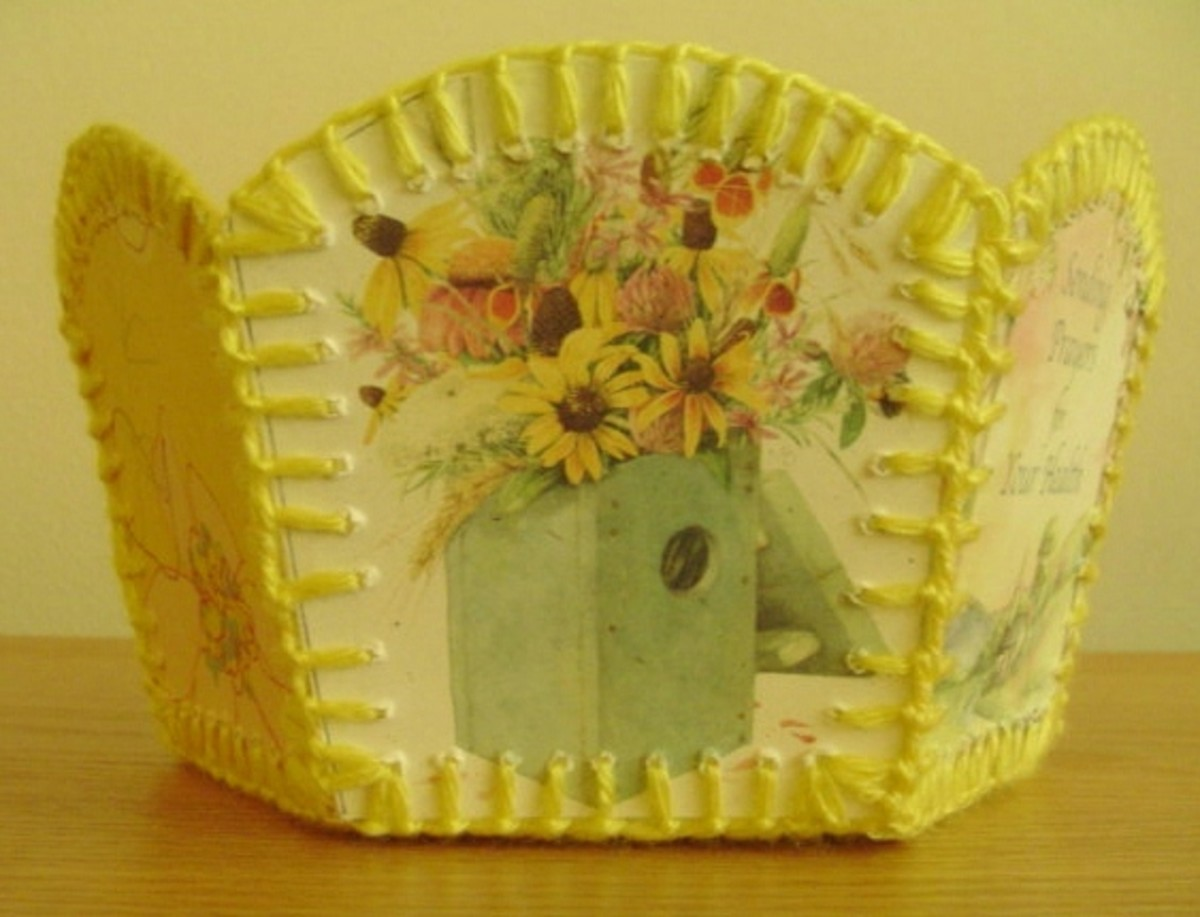 Side of greeting card basket
