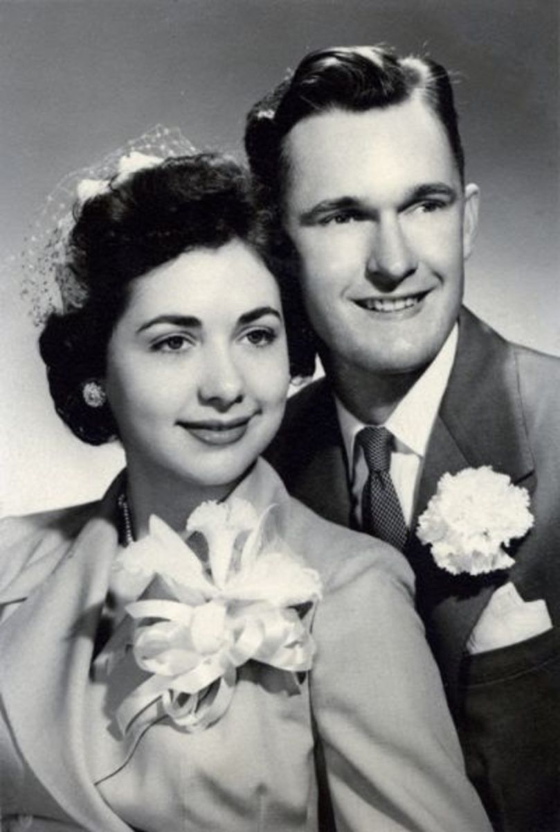 Photo That the Ceramic Portrait Was Made from--My Parents on Their Wedding Day--February 14, 1953