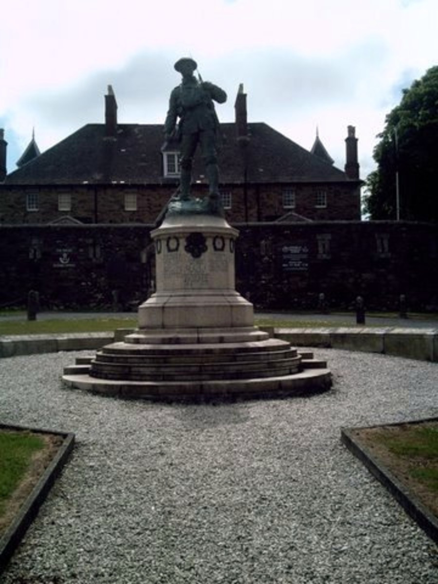 The Regiment's memorial to all its fallen men outside of the former Victoria Barracks in Bodmin.  The Keep, behind the memorial, now houses the Regimental museum.