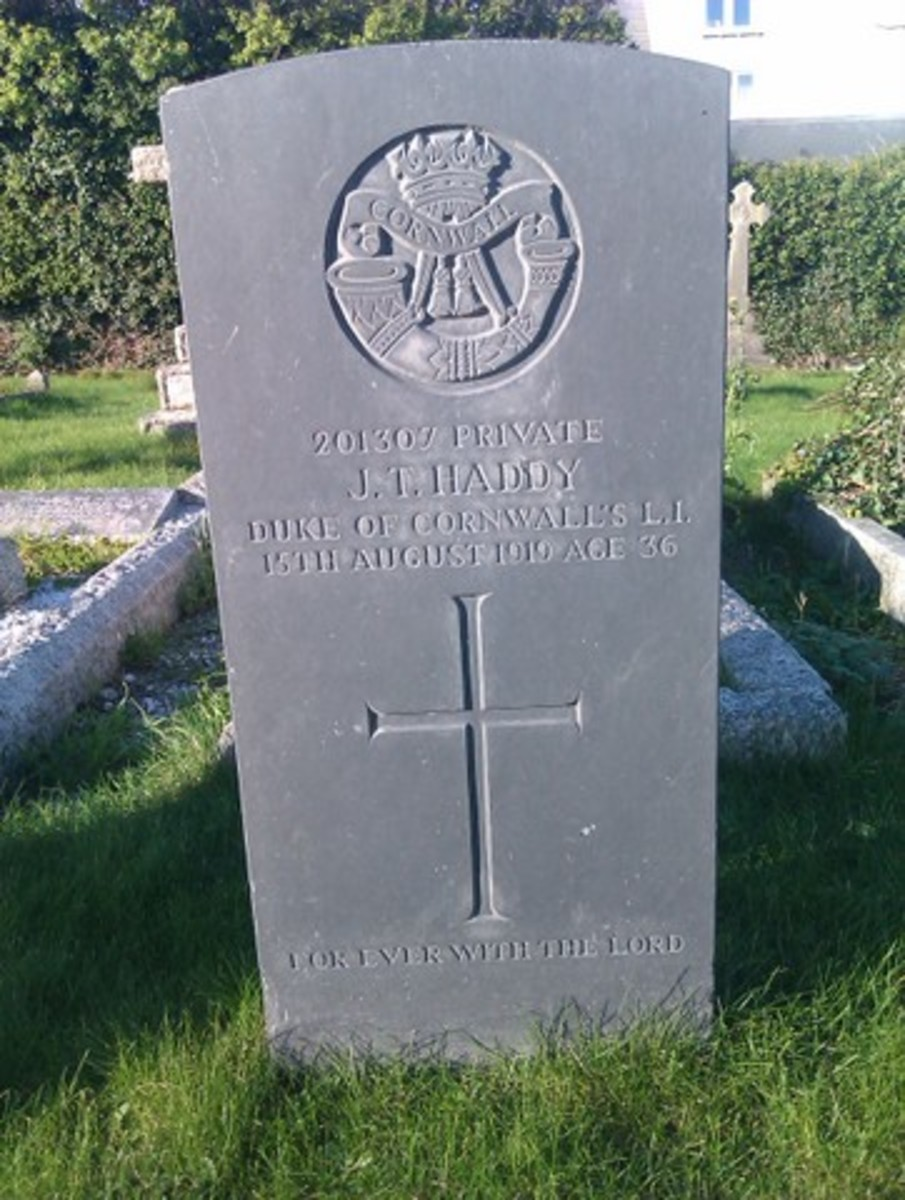 The grave of Private John T Haddy bears the emblem of the DCLI.  Private Haddy was in 1/4th Battalion and died after the war ended, perhaps of wounds.