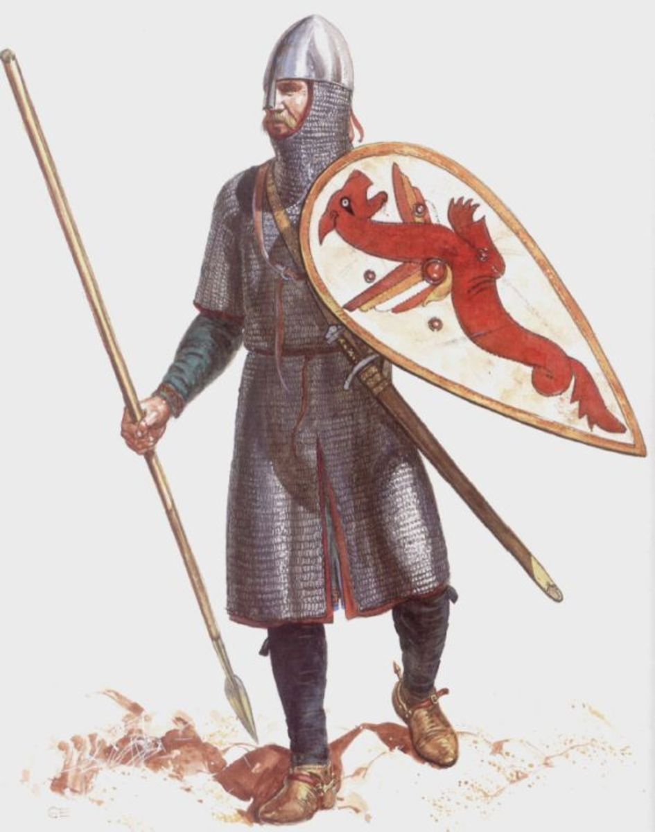 English huscarl with kite shield and thrusting spear