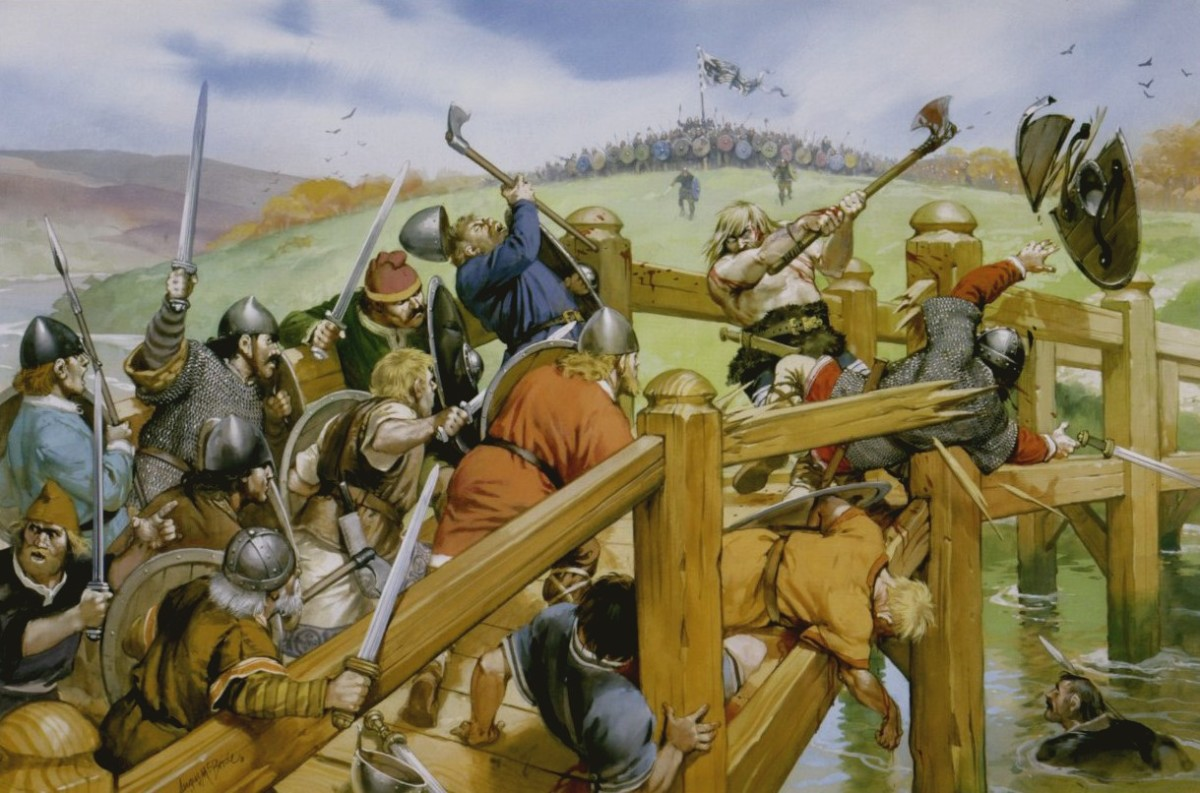 English huscarls and fyrdmen fight the lone giant on the narrow bridge at Stamford Bridge near York, September 25th, 1066 - losses were heavy until one took a boat under the plank bridge and thrust upward with his spear.