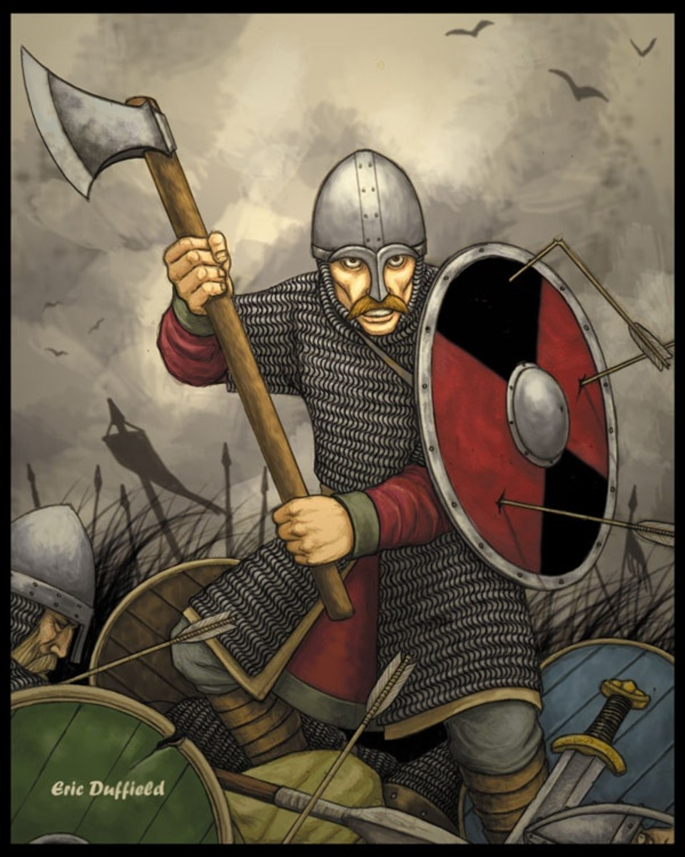 An English huscarl on Caldbec Hill, axe at the ready to deal the death blow to any unwary Norman or one of William's allies. Harold's huscarls fought on after they knew he was dead. It was what was awaited of them, after all