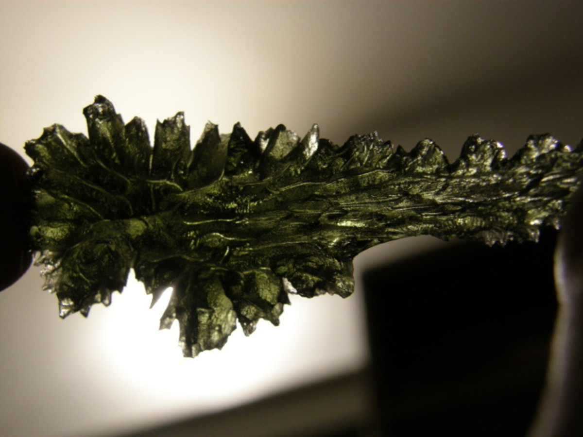 One of the many beautiful formations possible with moldavite.