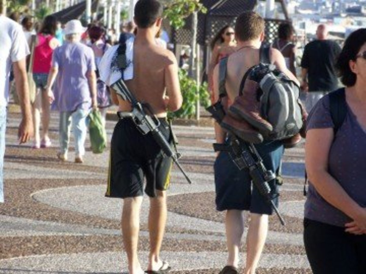 Off duty Israeli soldiers with guns