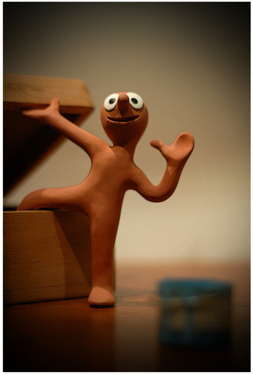 One of the most famous stop-motion models, Morph, was made of clay and the background props and scenery used with this character were all everyday objects - from dominoes to books and thimbles.