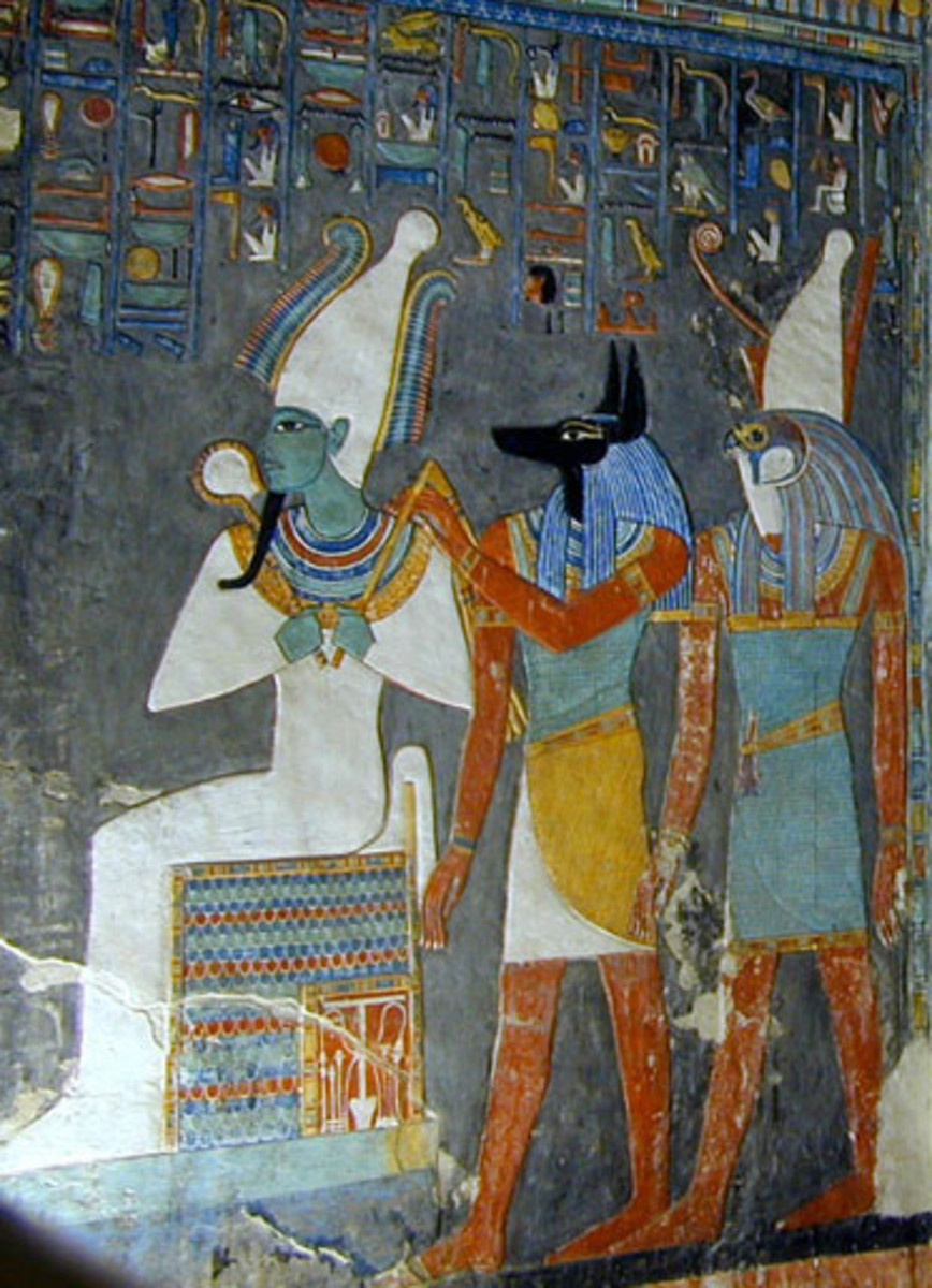 Osiris, Anubis, and Horus from a tomb wall painting.