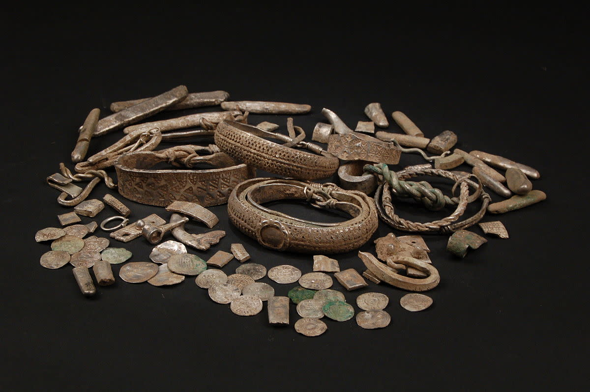 An assembled display of silver artefacts found at Silverdale near the north Lancashire coast