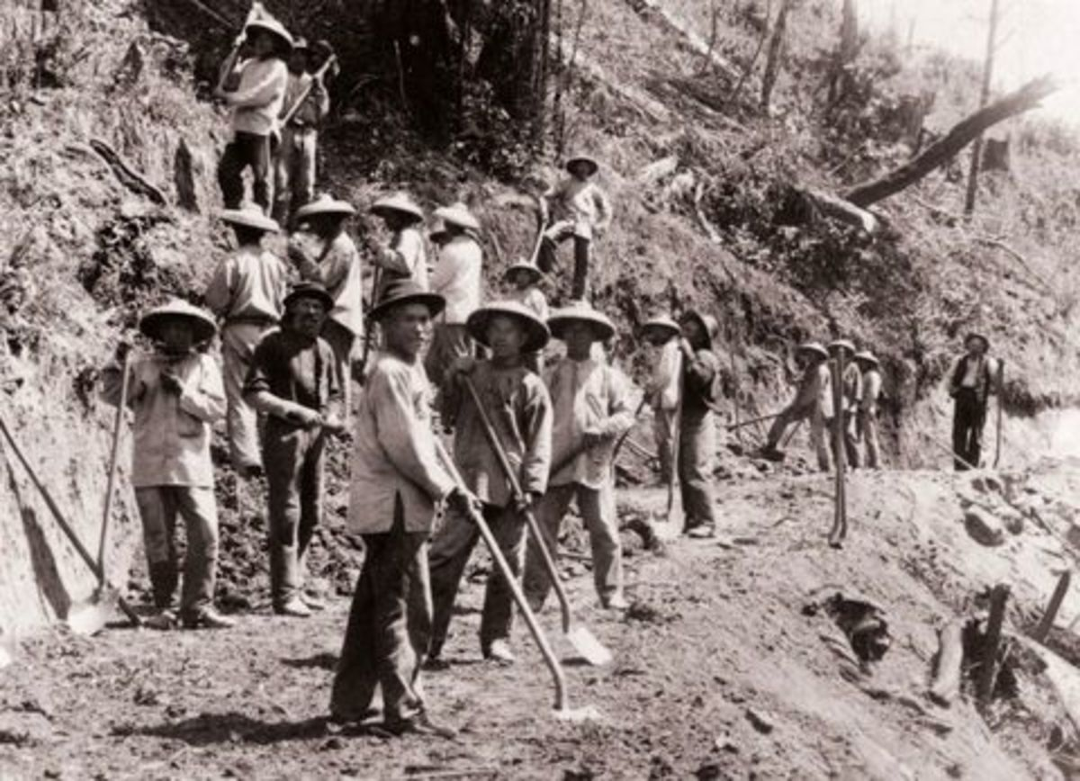 Chinese railroad workers forged railways through impossible country, being paid extremely little money and often dying of fever, disease, and exhaustion. In some areas as many as one worker per four miles of track may have died.