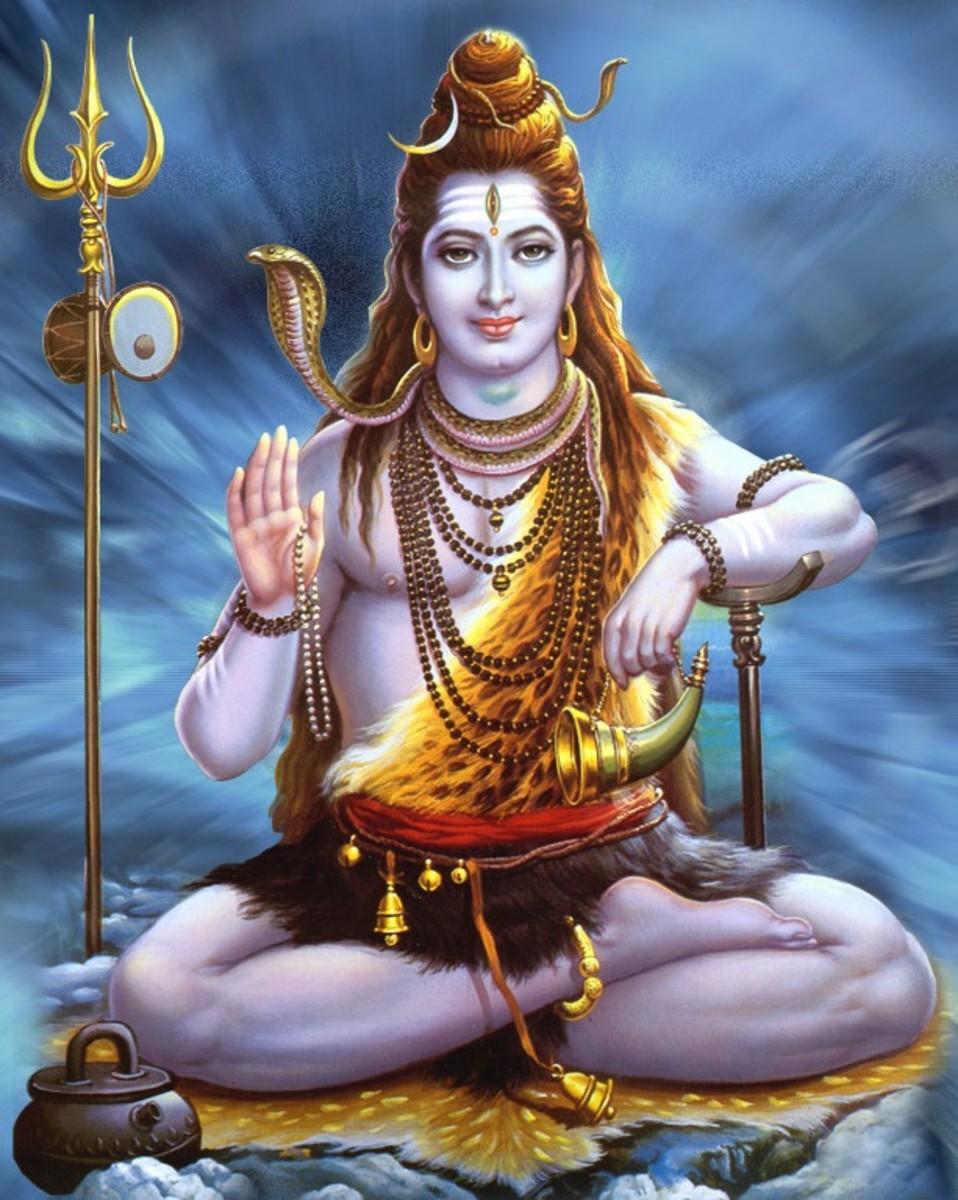 Lord Shiva wearing a garland of Naga. Contemporary lithograph photographed by Vinaya