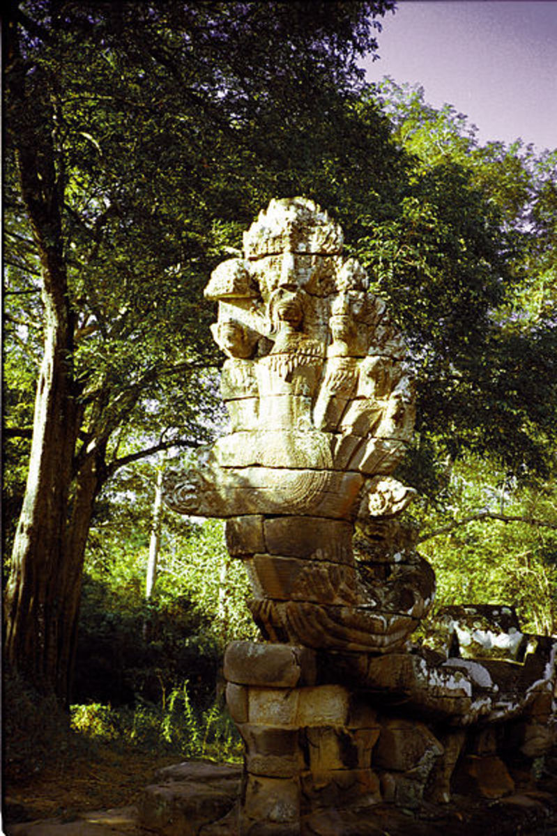Seven-headed Naga at the entrance of an Angkor Thom, Cambodia