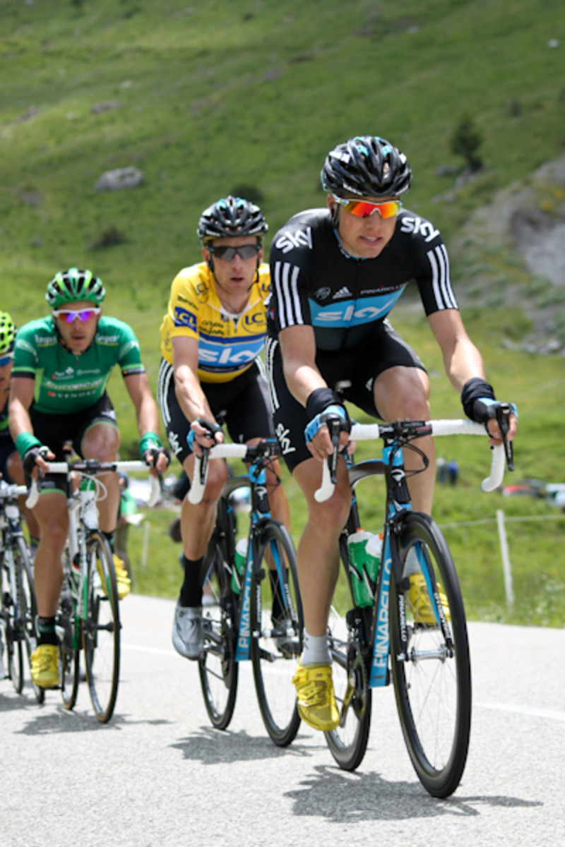 Wiggins with teammate in the mountains.