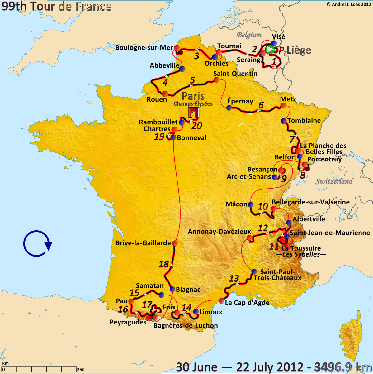Map of the 2012 Tour de France route