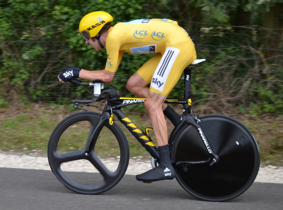 Bradley Wiggins, on his way to victory in the 2012 Tour de France.