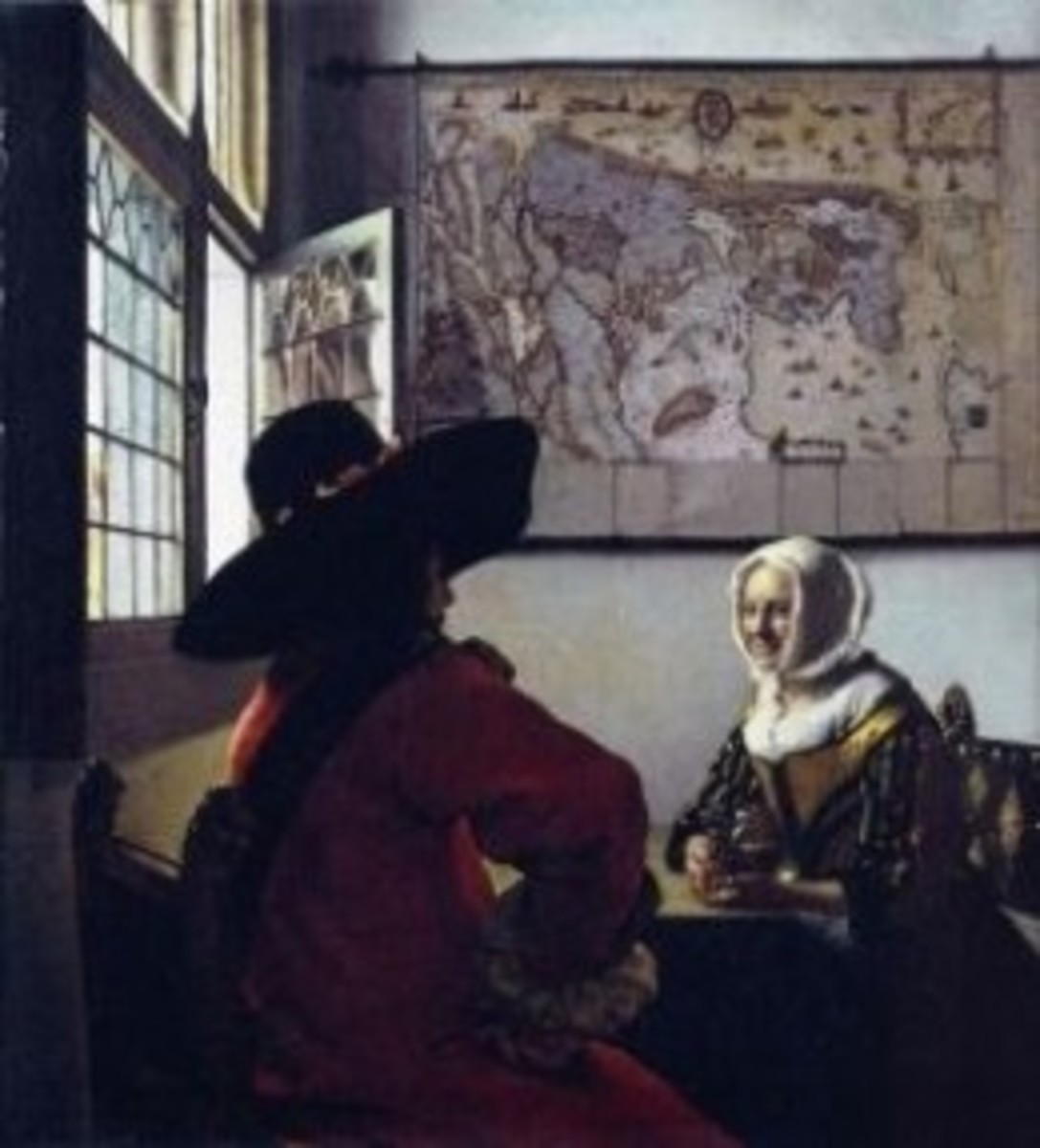 Frick vermeer Officer and Laughing Girl
