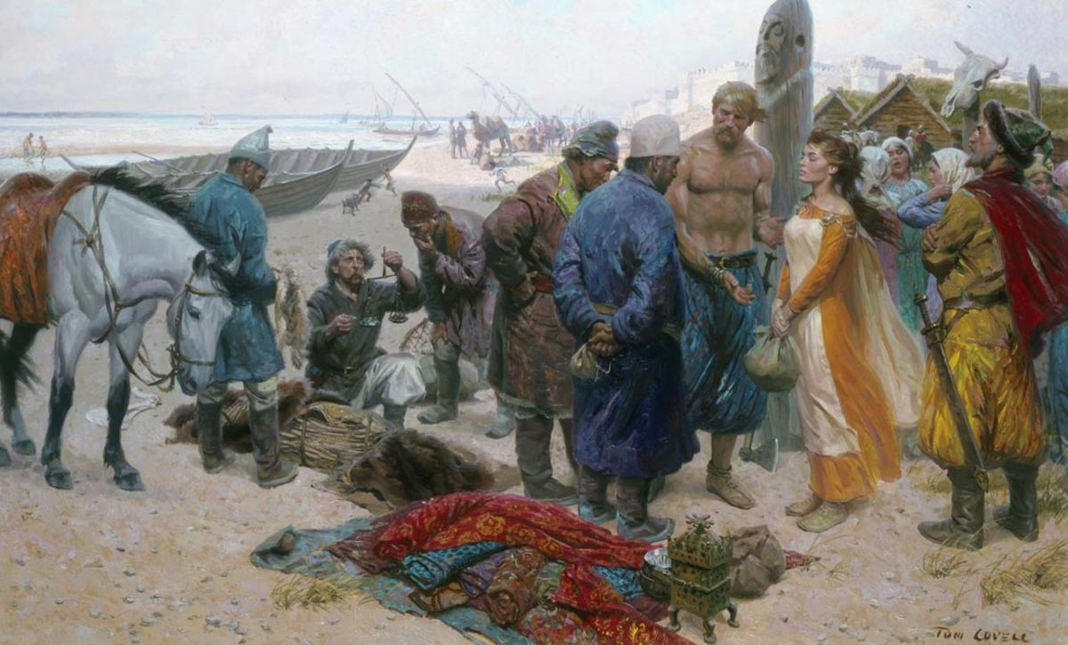 Rus/Rhos slave merchants eye a deposit in negotiations over a fair-skinned young woman - taken as a prize. It was in their interests to treat her well, in order to secure a good price