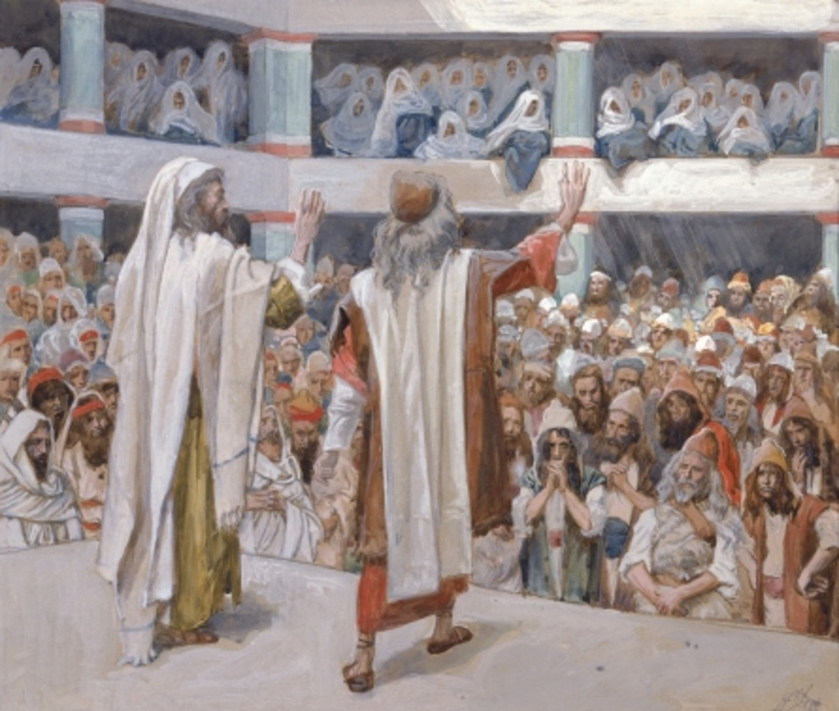 """""""Moses and Aaron Speak to the People"""" by James Jacques Joseph Tissot  c. 1896-1902"""