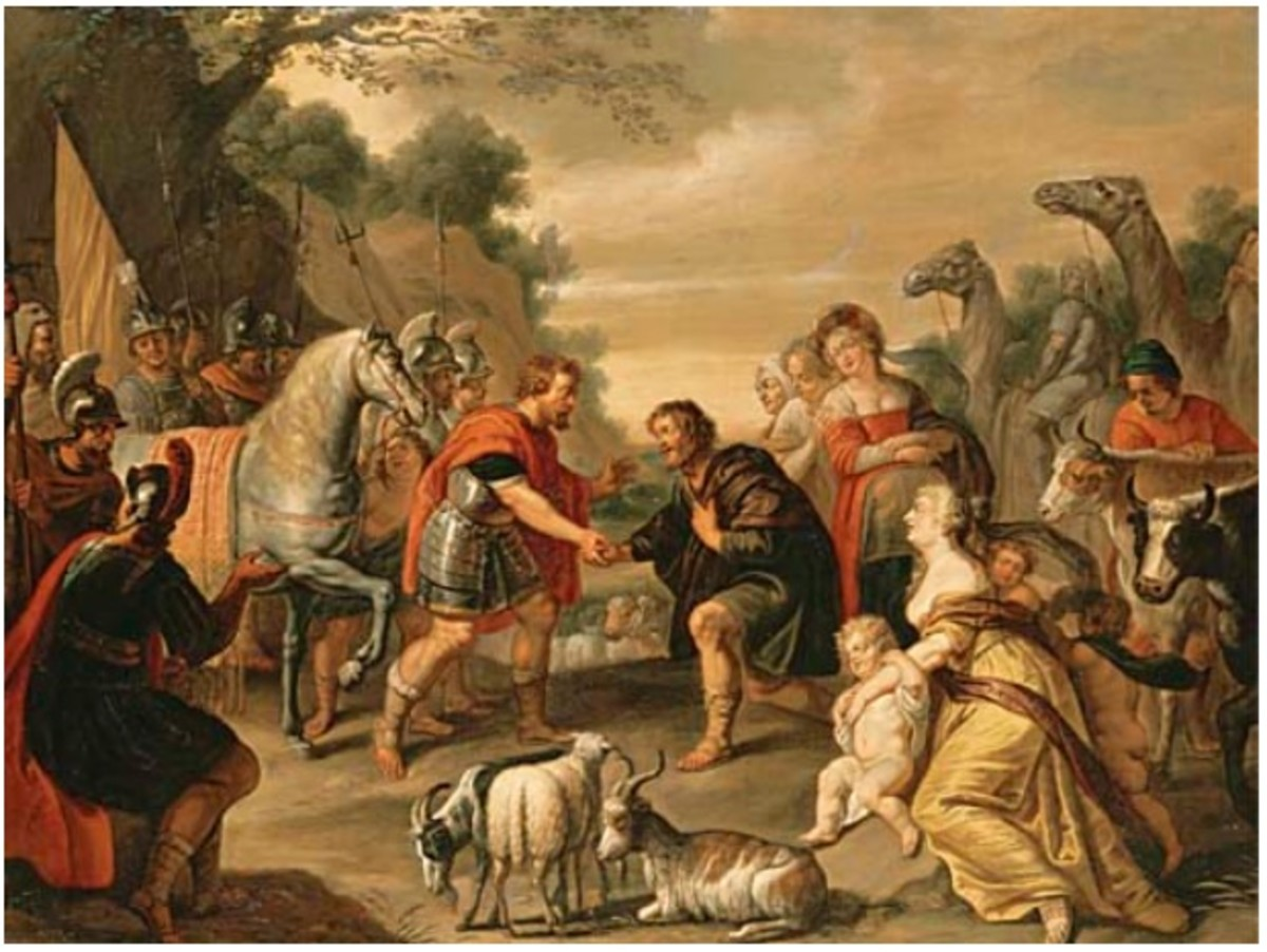 """The Reconciliation of Jacob and Esau"" by Abraham Willemsens between 1625 - 1672"