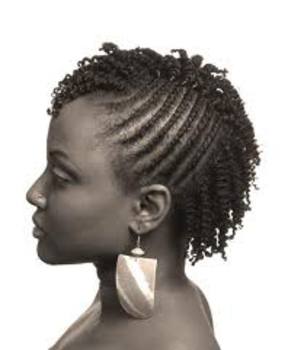 Flat Twist Cornrows with Black Rubber Band Twist Out