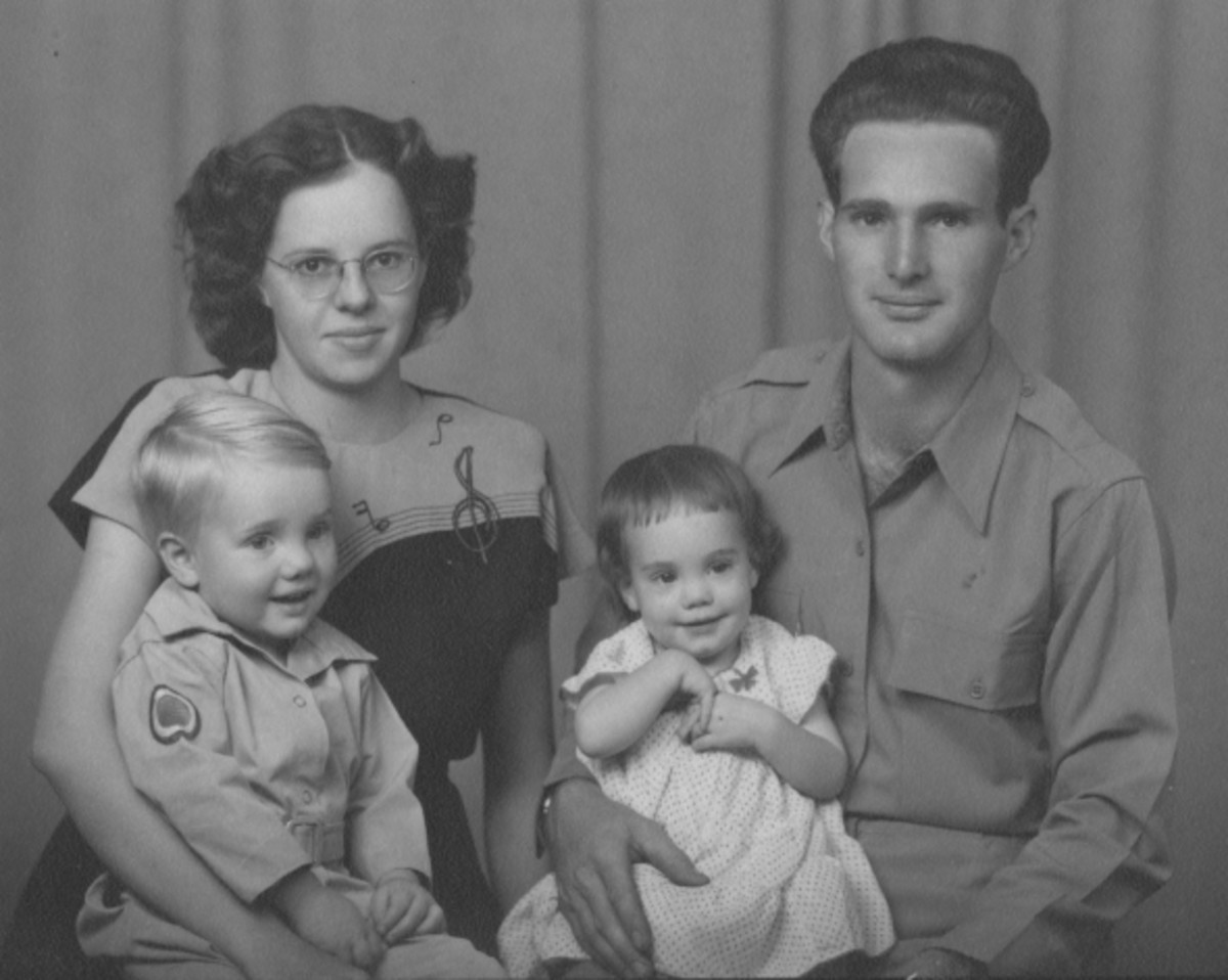 Gail and her husband, Clyde Martin. Their first two children are Owen and Susan.