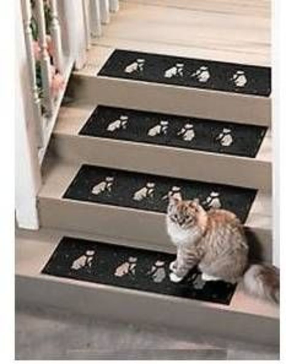 Cat Motif Rubber Stair Treads