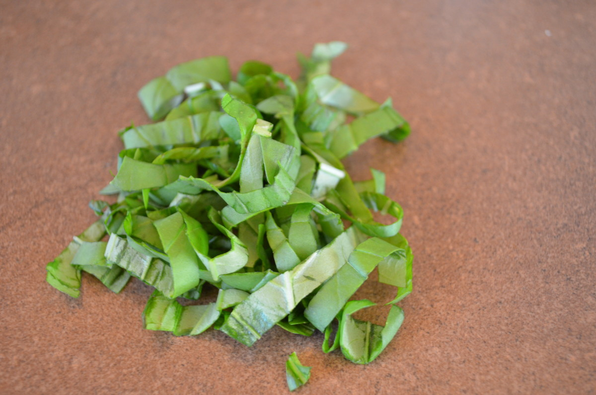 Basil chiffonade is a great garnish for many things like bruschetta.