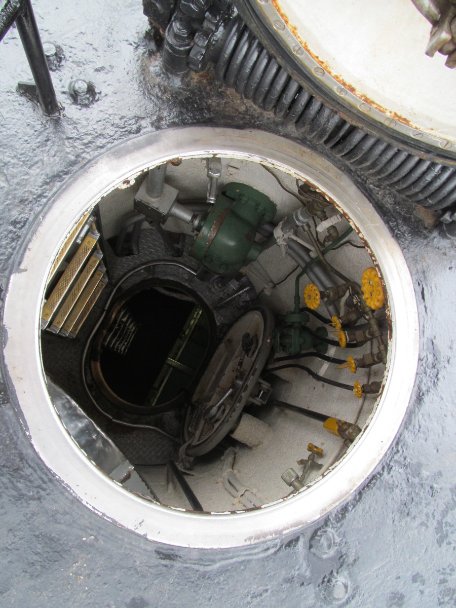 This is a 14' climb out of the submarine, and onto the deck