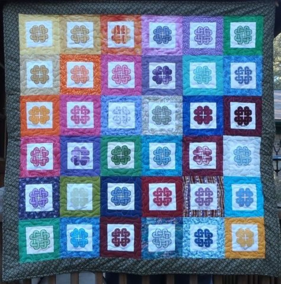 Knotted Hearts Quilt as Stitched by the WOCS Group